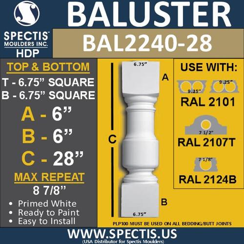 "BAL2240-28 Spectis Urethane Railing Baluster 6 3/4"" x 28"""