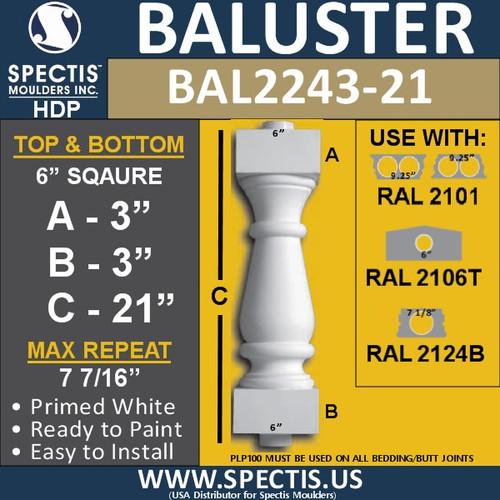 "BAL2243-21 Spectis Urethane Railing Baluster 6"" x 21"""