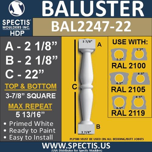 "BAL2247-22 Spectis Urethane Railing Baluster 3 7/8"" x 22"""