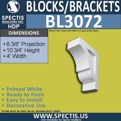 "BL3072 Eave Block or Bracket 10.75""W x 8.2""H x 10.75"" P"