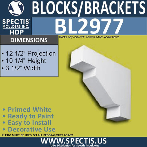 "BL2977 Eave Block or Bracket 3.5""W x 10.25""H x 12.5"" P"