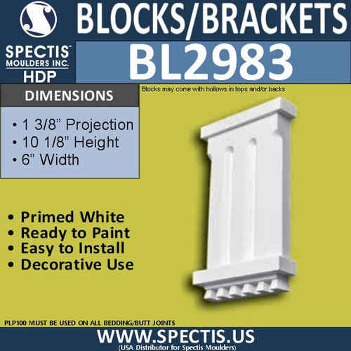 "BL2983 Eave Block or Bracket 6""W x 10.13""H x 1.38"" P"