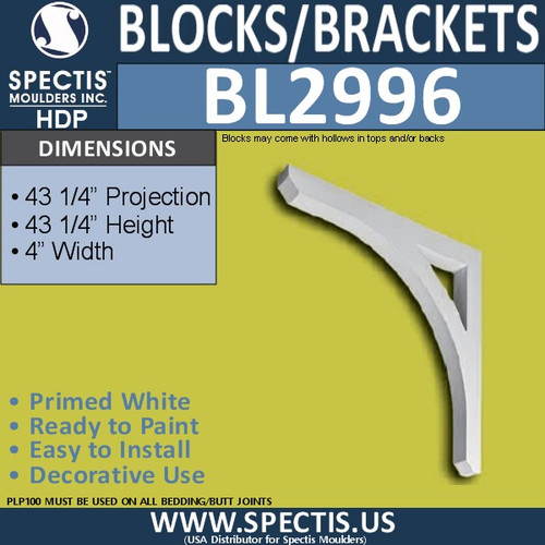 "BL2996 Eave Block or Bracket 4""W x 43.25""H x 43.25"" P"