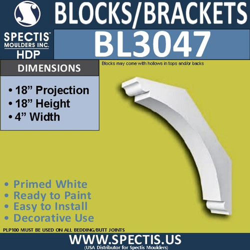 "BL3047 Eave Block or Bracket 4""W x 18""H x 18"" P"