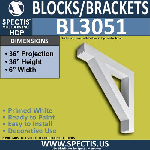 "BL3051 Eave Block or Bracket 6""W x 36""H x 36"" P"