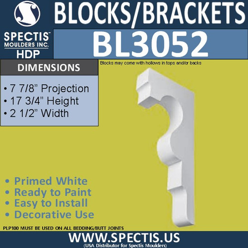 "BL3052 Eave Block or Bracket 2.5""W x 17.75""H x 7.88"" P"