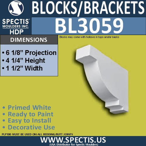 "BL3059 Eave Block or Bracket 1.5""W x 4.25""H x 6.13"" P"