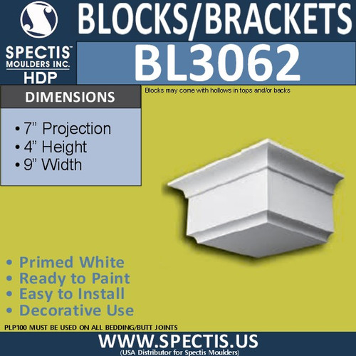 "BL3062 Eave Block or Bracket 9""W x 4""H x 7"" P"