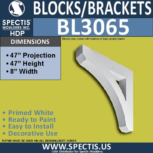 "BL3065 Eave Block or Bracket 8""W x 45""H x 45"" P"