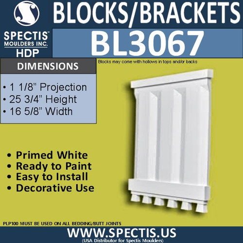 "BL3067 Eave Block or Bracket 16.88""W x 25.75""H x 1.13"" P"