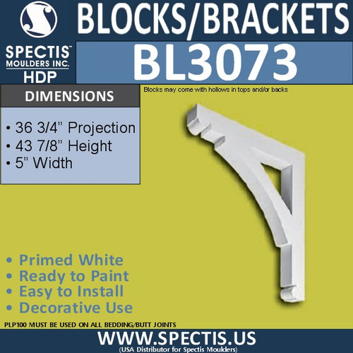 "BL3073 Eave Block or Bracket 5""W x 44""H x 36.75"" P"