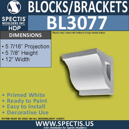 "BL3077 Eave Block or Bracket 12""W x 5.88""H x 5.88"" P"