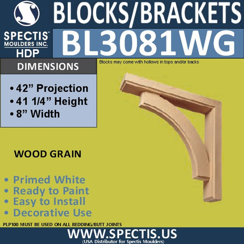 "BL3081-WG Eave Block or Bracket 8""W x 41.25""H x 42"" P"