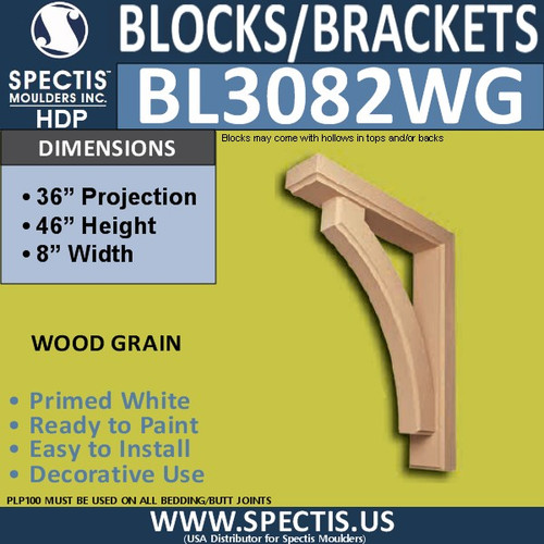 "BL3082-WG Eave Block or Bracket 8""W x 50""H x 36"" P"