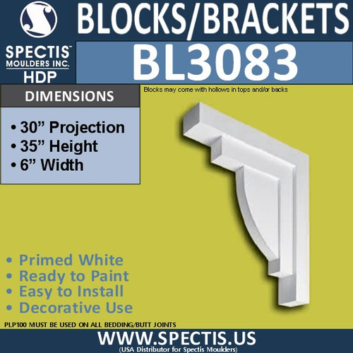"BL3083 Eave Block or Bracket 6""W x 35""H x 32"" P"
