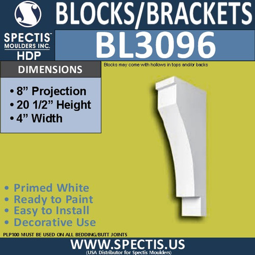 "BL3096 Eave Block or Bracket 4""W x 20.5""H x 8"" P"