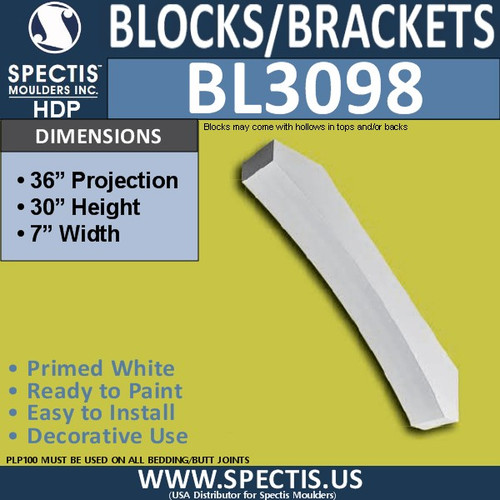 "BL3098 Eave Block or Bracket 7""W x 32""H x 36"" P"