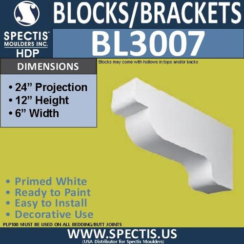 "BL3007 Eave Block or Bracket 6""W x 24""H x 12"" P"