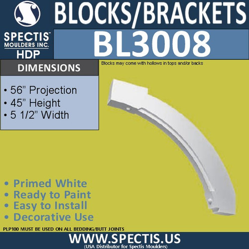 "BL3008 Eave Block or Bracket 5.5""W x 45""H x 56"" P"