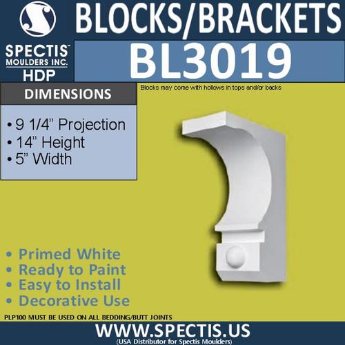 "BL3019 Eave Block or Bracket 5""W x 14""H x 9.25"" P"