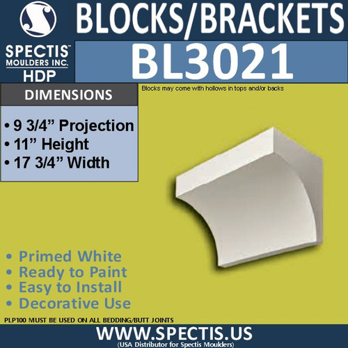 "BL3021 Eave Block or Bracket 17.75""W x 11""H x 9.75"" P"