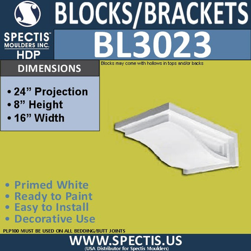 "BL3023 Eave Block or Bracket 16""W x 8""H x 24"" P"