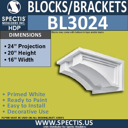 "BL3024 Eave Block or Bracket 24""W x 20""H x 24"" P"
