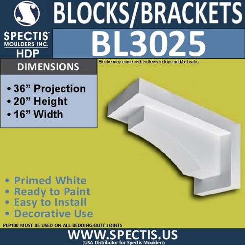"BL3025 Eave Block or Bracket 16""W x 20""H x 36"" P"
