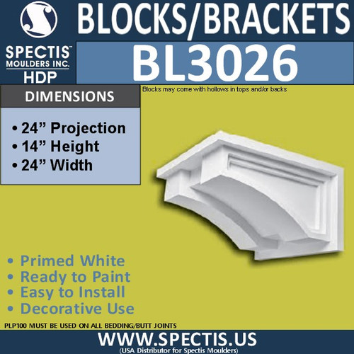 "BL3026 Eave Block or Bracket 24""W x 14""H x 24"" P"
