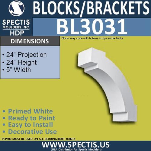 "BL3031 Eave Block or Bracket 5""W x 24""H x 24"" P"
