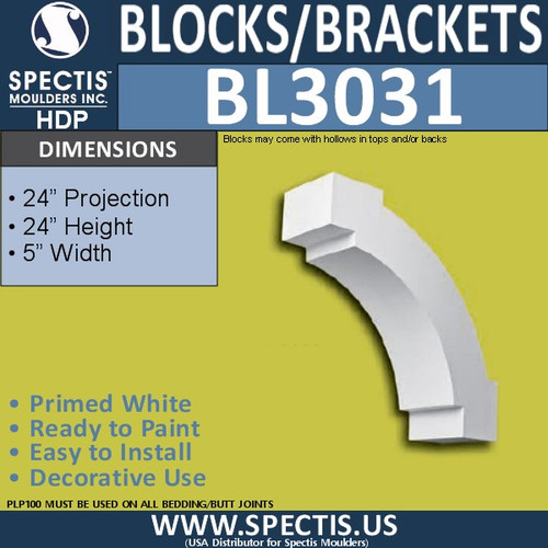 "BL3031 Eave Block or Bracket 5""W x 24""H x 24"" P"