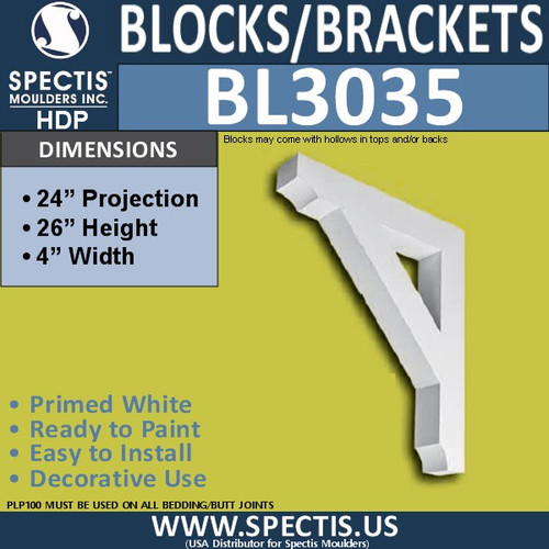 "BL3035 Eave Block or Bracket 4""W x 26""H x 24"" P"