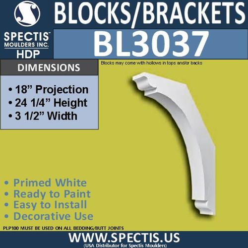 "BL3037 Eave Block or Bracket 3.5""W x 24.25""H x 18"" P"