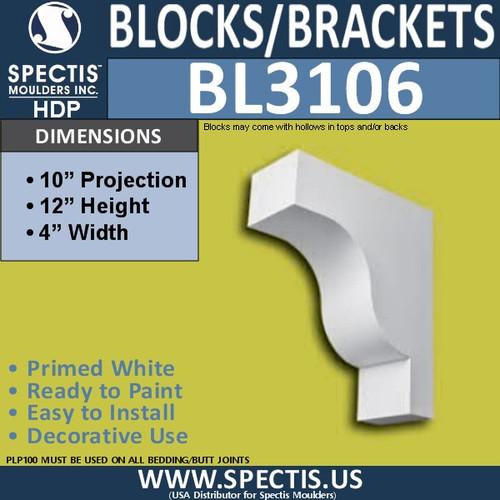 "BL3106 Eave Block or Bracket 4""W x 12""H x 10"" P"