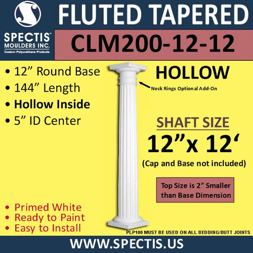 "CLM200-12-12 Fluted Tapered Column 12"" x 144"""