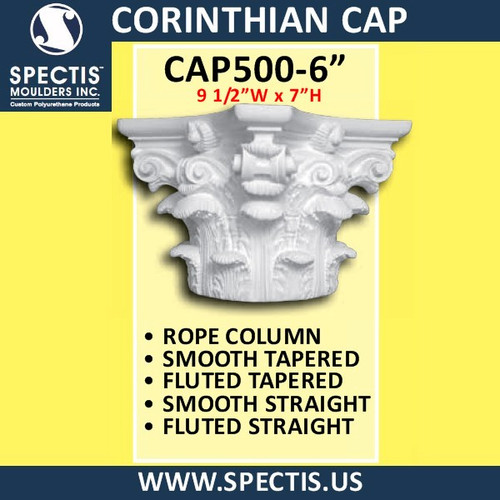 "CAP500-6 Corinthian Cap 9 1/2""W x 7""H for 6"" top column"