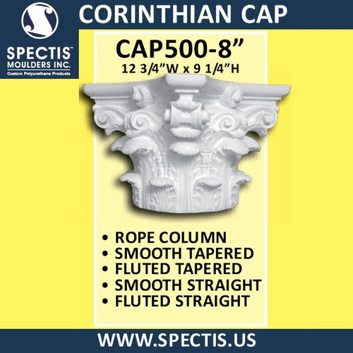 "CAP500-8 Corinthian Cap 12 3/4""W x 9 1/4""H for 8"" top column"