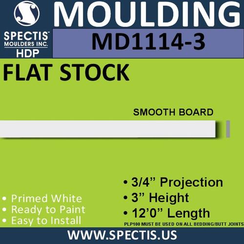 "MD1114-3 Spectis 3/4"" Flat Stock 3/4""P x 3""H x 144""L"