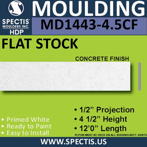 "MD1443CF-4.5 Concrete Finish Flat Stock 1/2""P x 4 1/2""H x 12'"