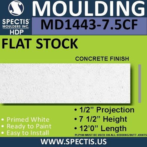 "MD1443CF-7.5 Concrete Finish Flat Stock 1/2""P x 7 1/2""H x 12'"