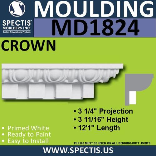 MD1824 Crown Molding Trim decorative spectis urethane