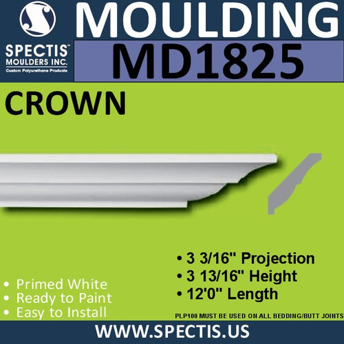 MD1825 Crown Molding Trim decorative spectis urethane