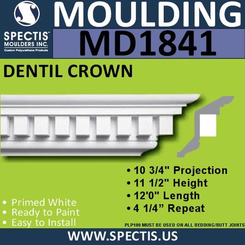 MD1841 Dentil Crown Molding Trim decorative spectis urethane