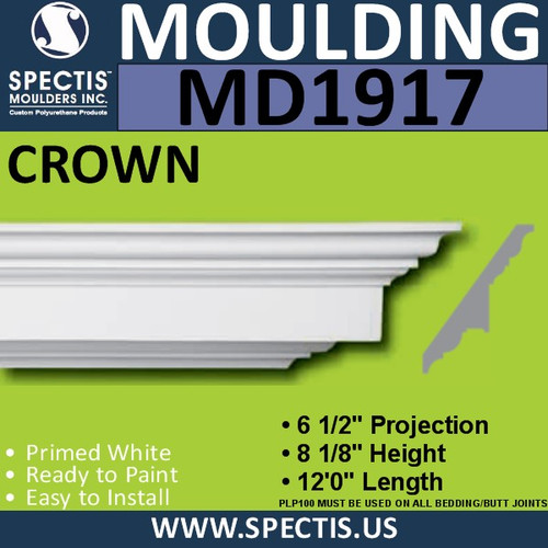 MD1917 Crown Molding Trim decorative spectis urethane