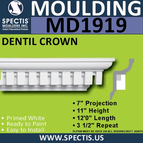 MD1919 Dentil Crown Molding Trim spectis urethane