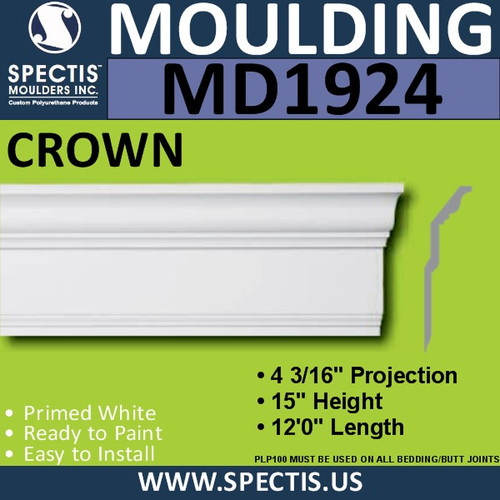 MD1924 Crown Molding Trim decorative spectis urethane