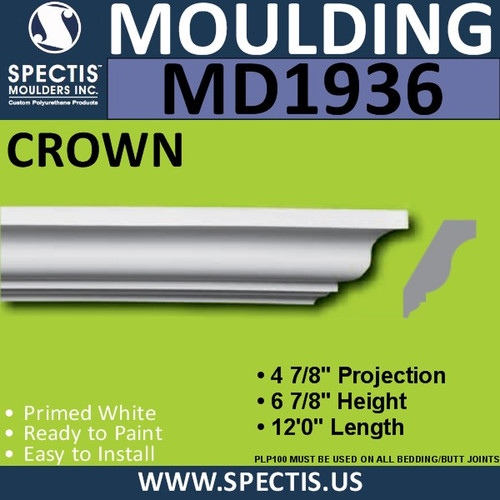 MD1936 Crown Molding Trim decorative spectis urethane