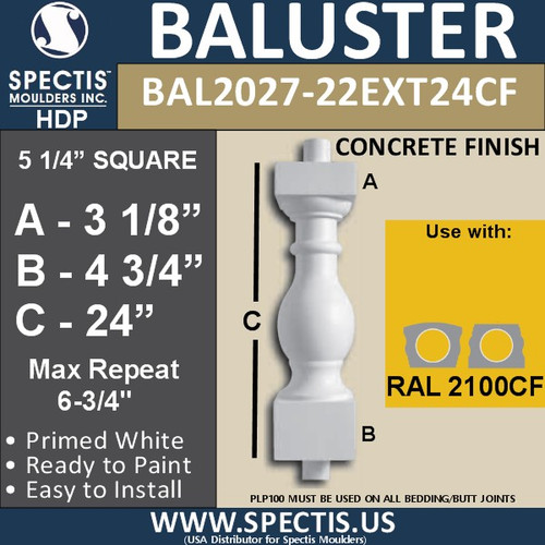 "BAL2027-22EXT24CF Concrete Finish Baluster 5 1/4""W X 24""H"