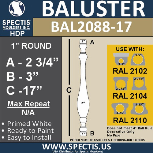 "BAL2088-17 Traditional Urethane Railing Baluster 2"" x 17"""
