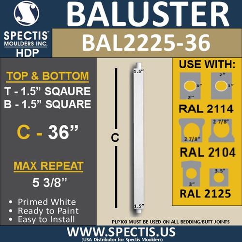 """BAL2225-36 Square Urethane Railing Baluster 1 1/2"""" x 36"""""""